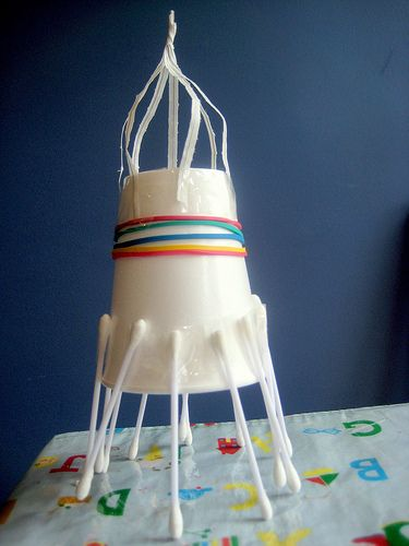 Easy rocket...Qtips, rubberbands, twisties, papercup