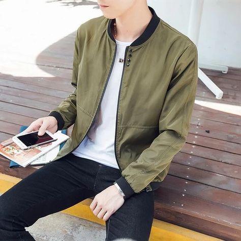 New 2018 Autumn bomber Jacket men fashion casual Thin Soft windbreaker solid man stand zipper gray jackets jaqueta masculina