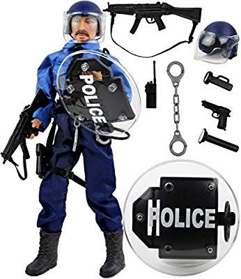 Amazon Com Click N Play 12 Police Officer Action Figure Playset With Accessories Toys Games Action Figures Police Officer Playset