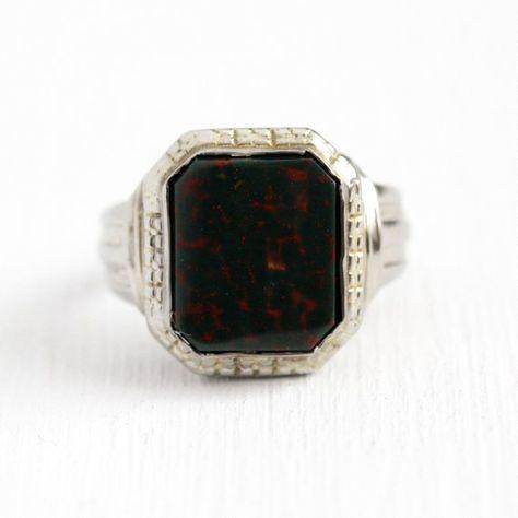 Sale Antique Bloodstone Ring Vintage Art Deco 10k White