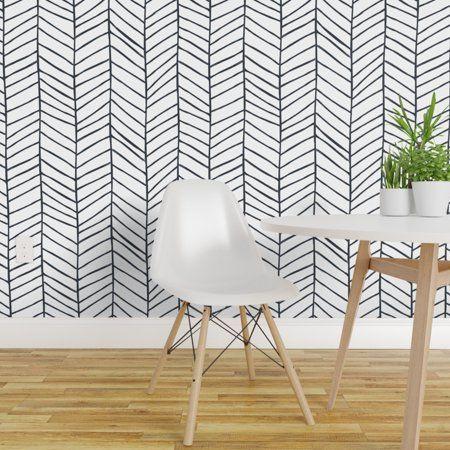 Peel And Stick Removable Wallpaper Herringbone Black And White Feather Walmart Com Herringbone Wallpaper Black And White Wallpaper White Wallpaper