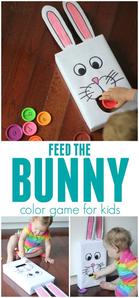 Cereal Box Feed the Bunny Color Game for Kids - Easter - Feed the Bunny using lids or other fun materials and join our A Very Toddler Easter series! Easter Activities For Toddlers, Games To Play With Kids, Easter Activities For Kids, Games For Toddlers, Easter Crafts For Kids, Toddler Crafts, Preschool Activities, Cereal Box Craft For Kids, Kids Cereal
