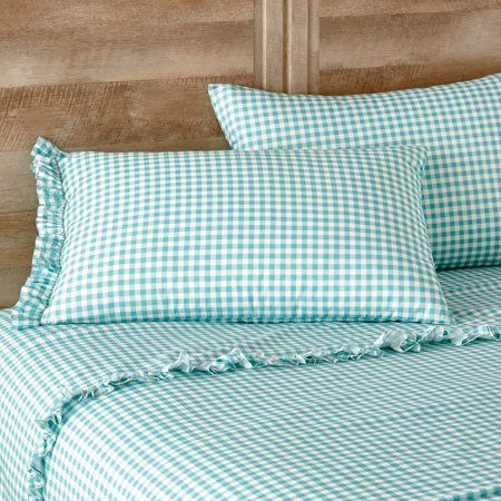 The Pioneer Woman Gingham Teal Ruffle King Sheet Set Walmart Com King Sheet Sets Sheet Sets Full Sheet Sets Queen