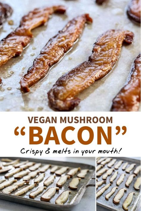 This MUSHROOM BACON is the best vegan option I've ever tasted. It's made with ju… This MUSHROOM BACON is the best vegan option I've ever tasted. It's made with just 3 ingredients, and tastes remarkably authentic. No soy or sugar added! Vegan Dinner Recipes, Vegan Breakfast Recipes, Whole Food Recipes, Cooking Recipes, Bacon Breakfast, Vegan Breakfast Casserole, Vegan Recipes No Soy, Breakfast Mushrooms, Yummy Vegan Snacks