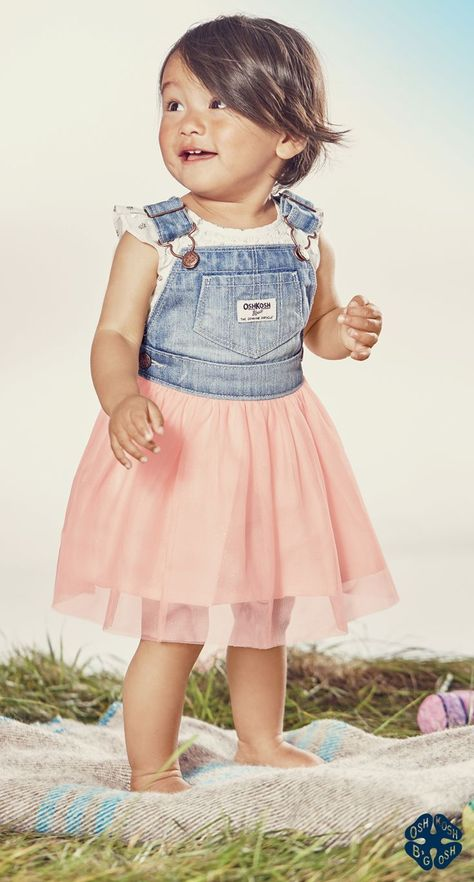 24a66b5326 This is tutu much! Classic OshKosh overalls plus tulle for Easter ...