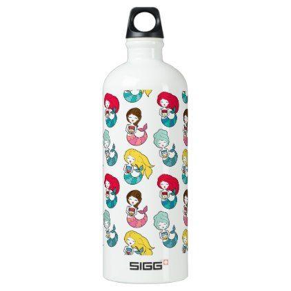 Cute Pink Hair Mermaid Girly Pattern Aluminum Water Bottle Aluminum Water Bottles Cute Pink Water Bottle
