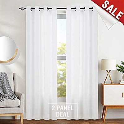 Amazon Com Semi Sheer White Curtains For Bedroom Window Curtains