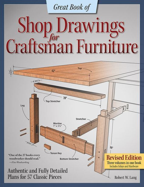 Great Book Of Shop Drawings For Craftsman Furniture Book Review Craftsman Furniture Woodworking Easy Woodworking Projects