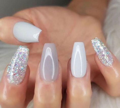soft white, silver, gray, gray, sparkling glittering sarong nails ✨ IG: @you ... #glittering #nails #sarong #silver #sparkling #white #x2728