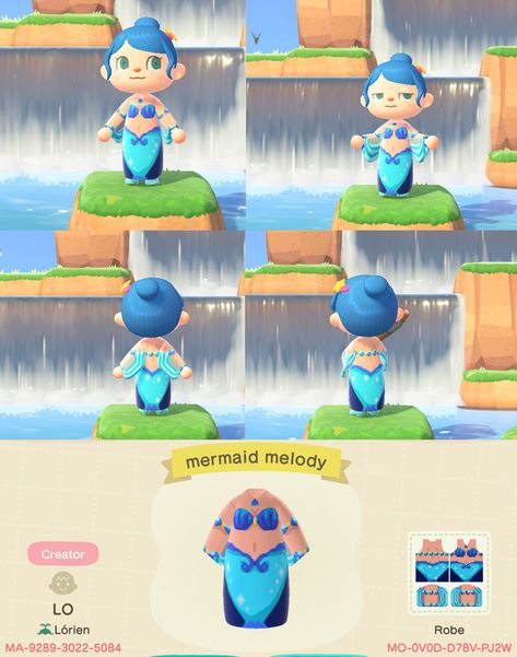 Mermaid dress, my first attempt with patterns :) : ac_newhorizons Animal Crossing 3ds, Animal Crossing Villagers, Animal Crossing Qr Codes Clothes, Animal Games, My Animal, Motif Acnl, Ac New Leaf, Motif Vintage, Mermaid Melody