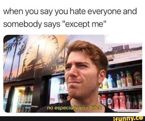 when you say you hate everyone and somebody says except me popular memes on the site iFunny co shanedawson celebrities funny s - Crazy Funny Memes, Really Funny Memes, Stupid Memes, Funny Relatable Memes, Haha Funny, Funny Tweets, Funny Cute, Funny Posts, Lol