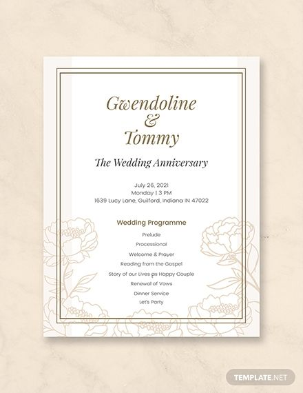 Free Wedding Anniversary Program Template Word Doc Psd Apple Mac Pages Illustrator Publisher Wedding Program Template Free Wedding Anniversary Invitations Wedding Programs Template