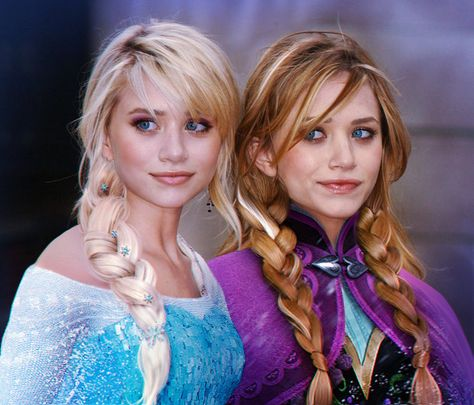 Elsa and Anna by Mary Kate and Ashley Olsen, Frozen. This was photoshopped to make them as Elsa and Anna. These two usually get on my nerves, but I actually really like them as these characters.