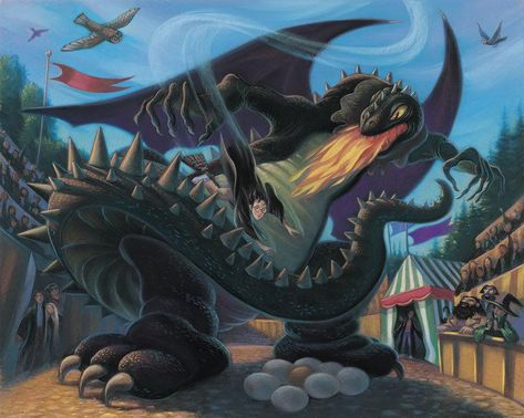 Harry Potter Battle with the Dragon Mary GrandPre SIGNED Giclee on Fine Art Paper Limited Edition of 250
