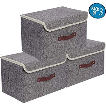 Dimj Lot De 3 Boites De Rangement Pliables Avec Couvercles Caisse De Rangement En Tissu Avec Poignees Pour Boite De Rangement Caisse Rangement Rangement Tissu