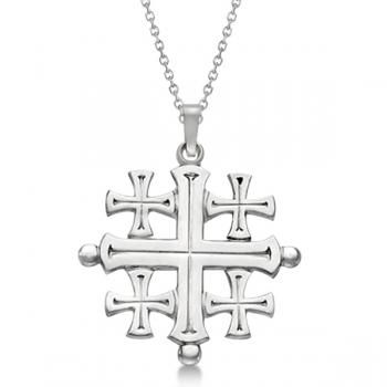 Crusaders' Jerusalem Cross Pendant for Men or Women in 14k White Gold -Allurez.com