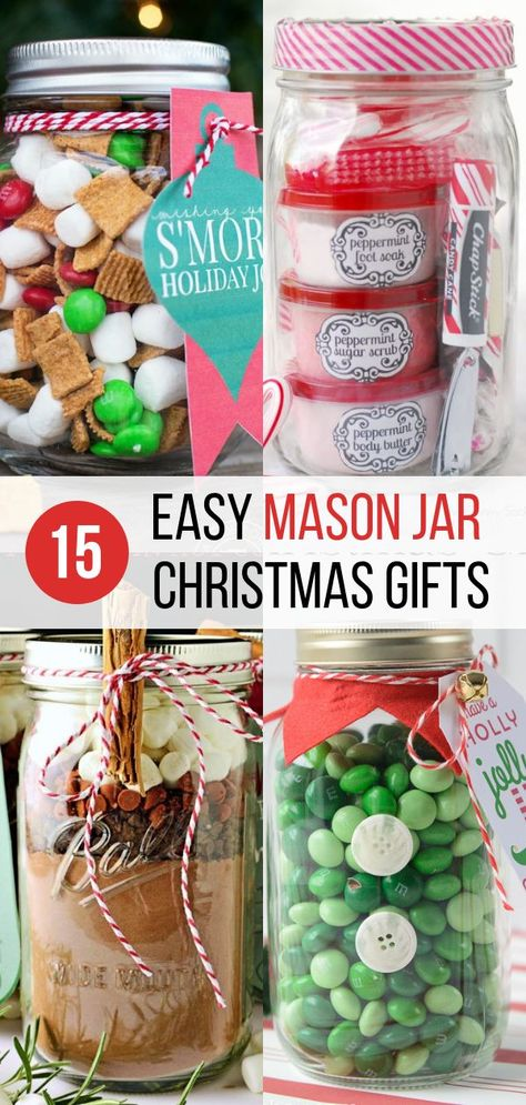 I love these mason jar gifts for Christmas! Perfect easy Christmas gifts for friends, family, neighbors, teachers, and more! These mason jar crafts for Christmas are easy to make AND they are the perfect thoughtful handmade gift to give. #diy #crafts #christmas #giftideas
