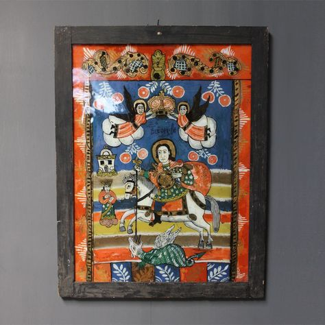 """'A superb and vibrant and really detailed icon on glass -  """"St George"""" Antique Painting on GlassSerbia      early 19th cent.  H: 70cm (27.6in) W: 54cm (21.3in) D: 4cm (1.6in) £1550  - See more at: http://www.johncornallantiques.com/antiques-folk-art-of-europe-and-rest-of-world/st-george-antique-painting-on-glass-22-0-refno-1950.html#sthash.gQbUZjdz.dpuf  http://www.johncornallantiques.com/antiques-folk-art-of-europe-and-rest-of-world/st-george-antique-painting-on-glass-22-0-refno-1950.html"""