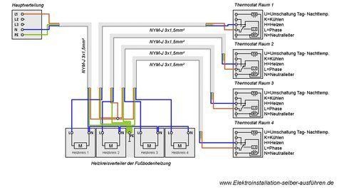 Schaltplan Eines Thermostats Fur Eine Fussbodenheizung Elektroinstallation Thermostat Elektro