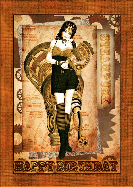 Steam Punk Card Birthday Card As Shown A Thank You Steampunk Cards Cards Handmade Masculine Birthday Cards