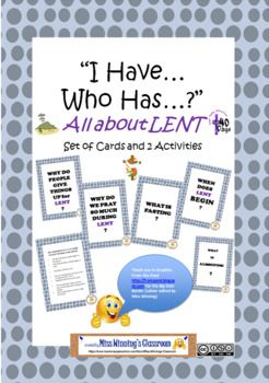 I Have Who Has All About Lent Cards And Activities Including Web Mindmap In 2021 40 Days Of Lent Lent Christian Education