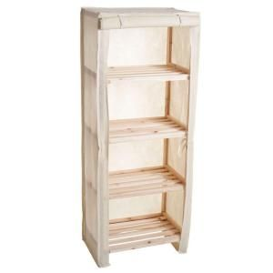 Lavish Home 4 Tier Wood Storage Shelving Rack With Removable Cover 83 13 4 The Home Depot Wooden Shelving Units Shelving Racks Wood Storage