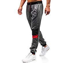 Herren Trainingshose Jogginghose Sporthose Fleecepant Fitness Hose Schwarz//Grau