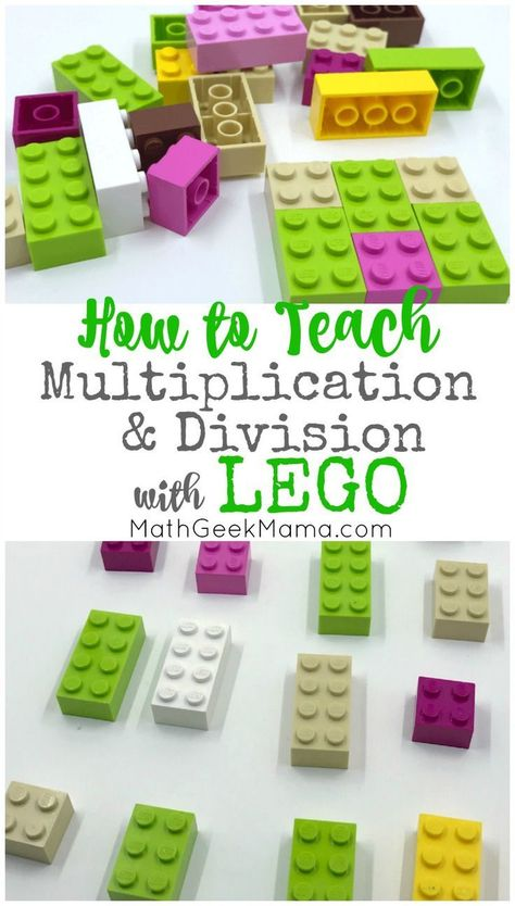 Make multiplication and division fun and hands on with LEGO bricks! In this post, learn all the different ways to model multiplication with LEGO and how to help kids make sense of division in a meaningful way. Multiplication & Division for Kids Maths 3e, Teaching Multiplication, Multiplication And Division, Teaching Math, Division Games, Division Activities, Math Math, Math Fractions, Kindergarten Math