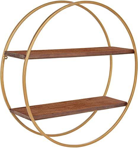 Buy Kate Laurel Sequoia Modern Round Wall Shelf 24 Diameter Walnut Brown Wood Gold Metal Mid Century Modern Circular 2 Tier Floating Shelf Decor Online P In 2020 Floating Shelf Decor Shelf