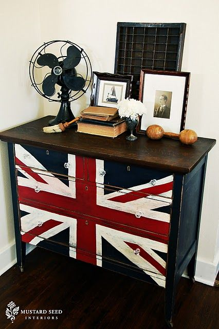 Union Jack dresser - Masculine paint job.  Like combo of natural wood on top with paint below.