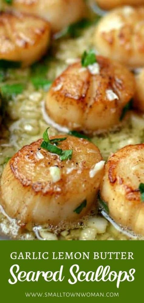 Garlic Lemon Butter Seared Scallops is definitely the best scallop recipe for the holidays! This easy Christmas dinner menu is made with just a handful of ingredients and a few minutes. Save this gourmet scallop recipe for a crowd-pleasing dinner idea! Best Scallop Recipe, Seafood Scallops, Salmon And Scallops Recipe, Recipes With Scallops, Lemon Butter Scallops Recipe, Shrimp And Scallop Recipes, Butter Salmon, Easy Christmas Dinner, Christmas Parties
