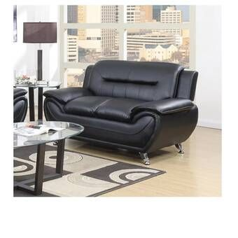 Minner 59 Wide Faux Leather Round Arm Loveseat In 2021 Modern Contemporary Living Room Modern Loveseat Living Room Leather