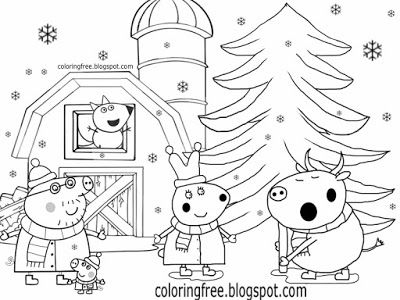 Cute Kids Simple Drawing Winter Farm Rabbit And Bull Peppa Pig Christmas Colouring Pages T Peppa Pig Coloring Pages Christmas Coloring Printables Rabbit Colors