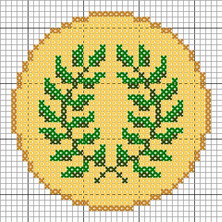 """1/"""" SCA All Yellow Laurel Wreath Embroidery Patch"""
