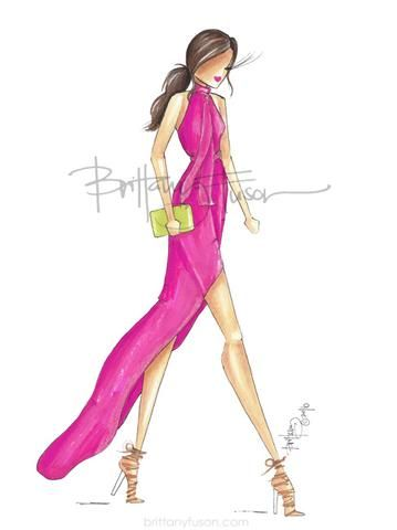 Hot Pink Hot Pink Fashion Fashion Illustration Fashion Design Sketches