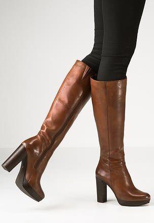 NANO Laarzen met hoge hak cognac | Bruine laarzen