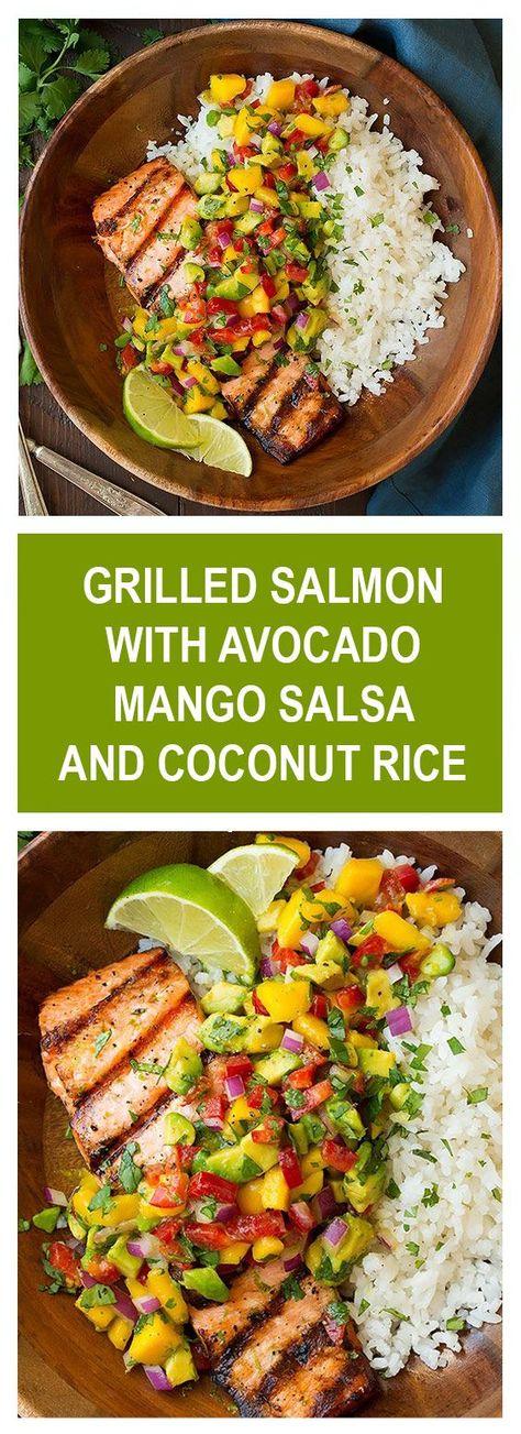 Grilled Salmon With Avocado-Mango Salsa and Coconut Rice - healthyrecipes.life,  #AvocadoMango #Coconut #Grilled #healthyrecipeslife #Rice #Salmon #Salsa #salsaideasrecipesfor