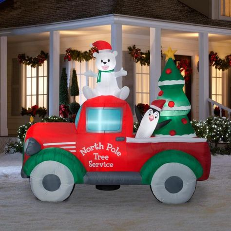 New for Christmas 2018...North Pole Delivery Truck Christmas Inflatable.  Adorable 2018 Christmas Inflatable featuring Snowman and Penguin out delivering Christmas Trees. Add some Holiday cheer to your yard this year that will delight  friends and visitors This Gemmy Christmas Holiday Inflatable extends out 9 feet long and stands over 7 feet tall.