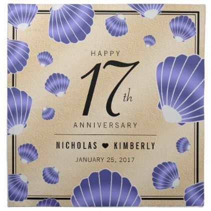 Elegant 17th Shells Beach Sand Wedding Anniversary Cloth Napkin