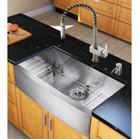 36-inch Farmhouse Kitchen Sink and Faucet Set, Silver ...