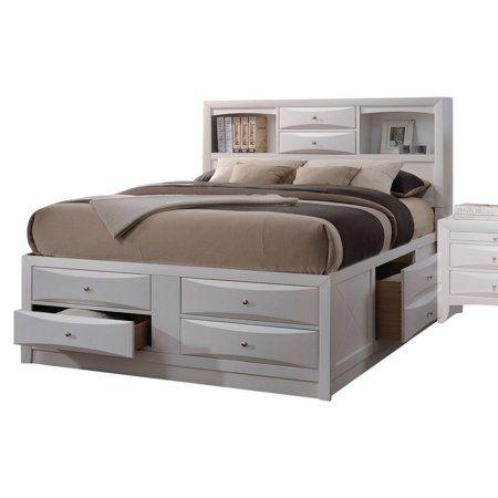 Acme Ireland Queen Bed With Storage In White Rubberwood Storage