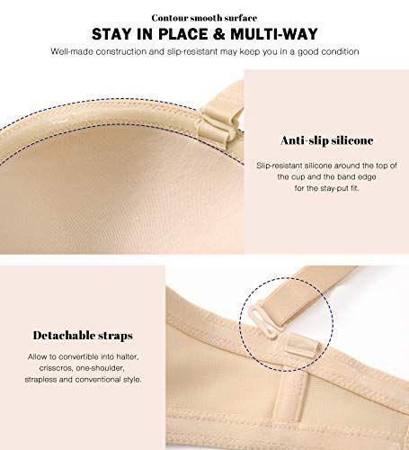 HANSCA Women Strapless Bra Convertible Multiway Full Cup Anti-Slip Lift Underwire Bra Plus Size