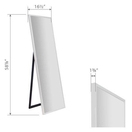 Framed White Floor Free Standing Mirror, White Floor Mirror With Easel