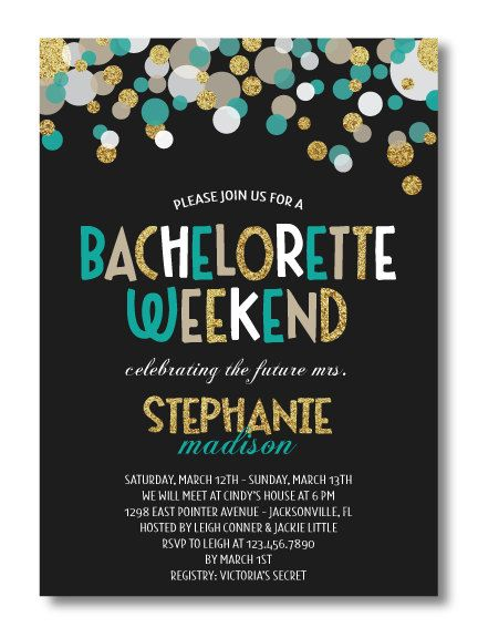 Bachelorette Bash Bachelorette Party Invitation  Custom Bridal