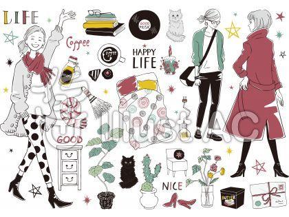 女性 おしゃれ 生活イラスト No 1369876 無料イラストなら イラストac 可愛い フレーム パソコン ピンク イラスト