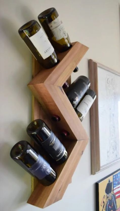 Show off your collection with this beautiful, modern zig zag wooden wine rack. Mounts to the wall to create additional storage and double as art