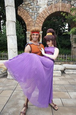 Hercules and Meg Cosplay. His hair!