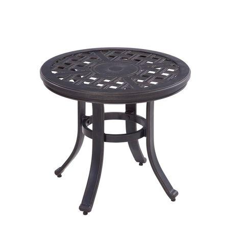 Hampton Bay Covina Round Aluminum Outdoor Side Table