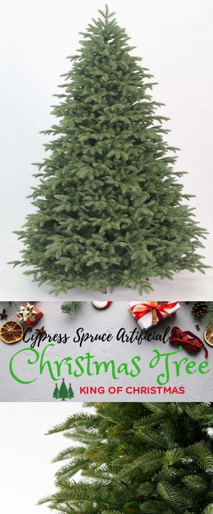8 Foot Cypress Spruce Artificial Christmas Tree With 1650 Warm White Led Lights King Of Christmas Artificial Christmas Tree Christmas Tree Green Christmas Tree