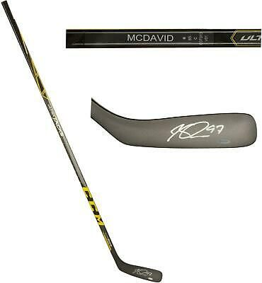 Connor Mcdavid Oilers Signed Ccm Ultra Tacks Game Model Hockey Stick In 2020 Hockey Stick Mcdavid Connor Mcdavid